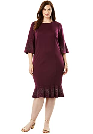 Roamans Women\'s Plus Size Ponte Dress with Bell Sleeves at Amazon ...