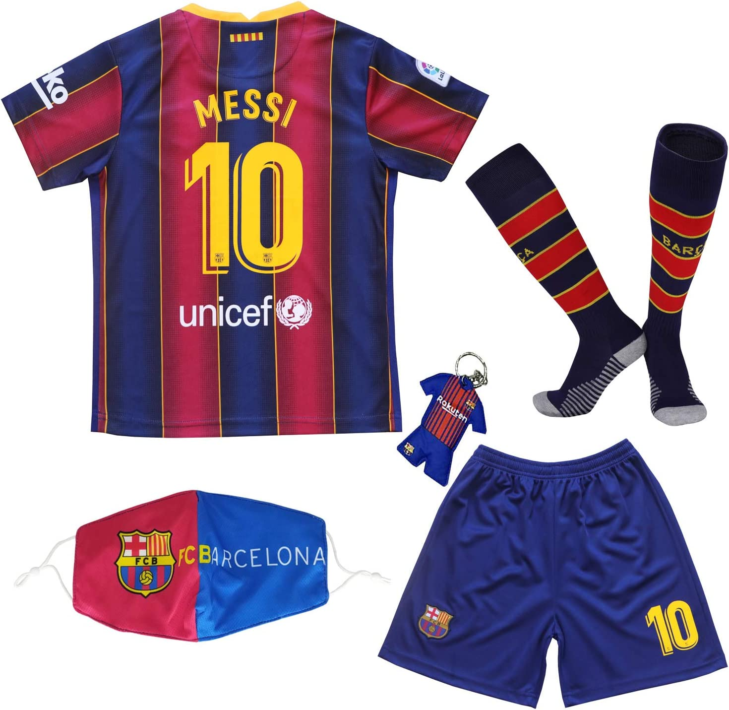 BIRDBOX Youth Sportswear Barcelona Leo Messi 10 Kids Home Soccer Jersey/Shorts Bag Keychain Football Socks Set