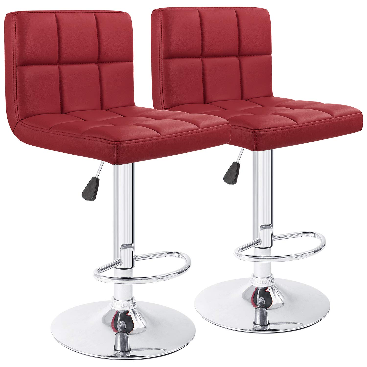 Furmax Bar Stools Modern Pu Leather Swivel Adjustable Hydraulic Bar Stool Square Counter Height Stool Set of 2 (Wine Red) by Furmax