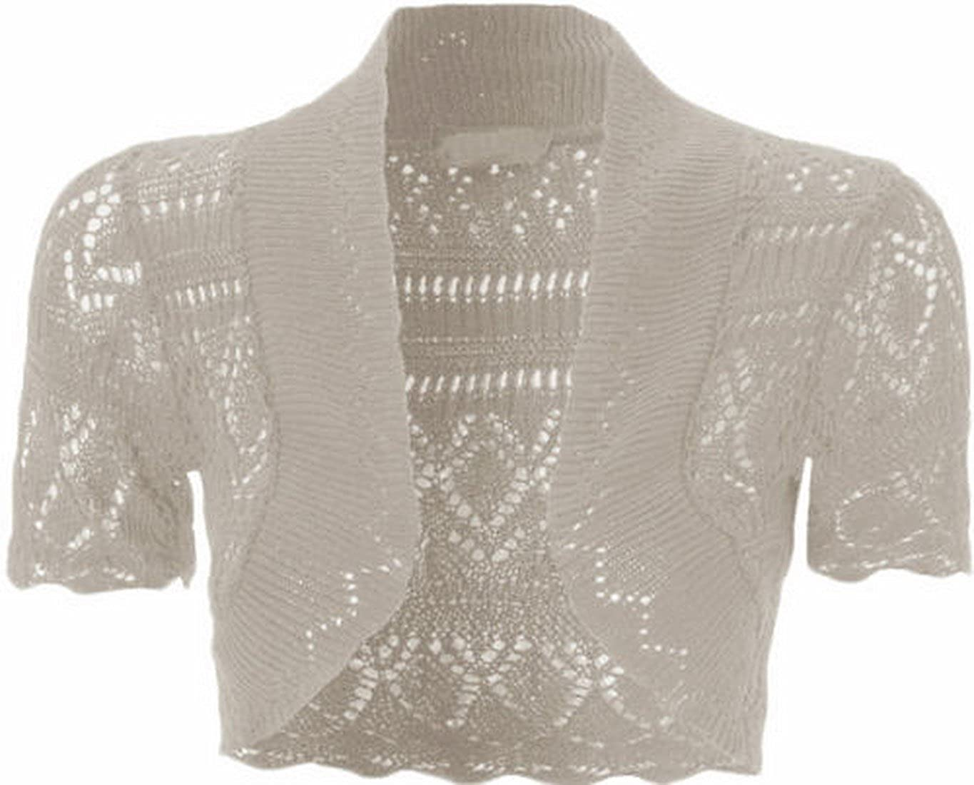 96582dbebb9 Womens Knitted Bolero Shrug Short Sleeve Crochet Shrug (White) at Amazon  Women s Clothing store