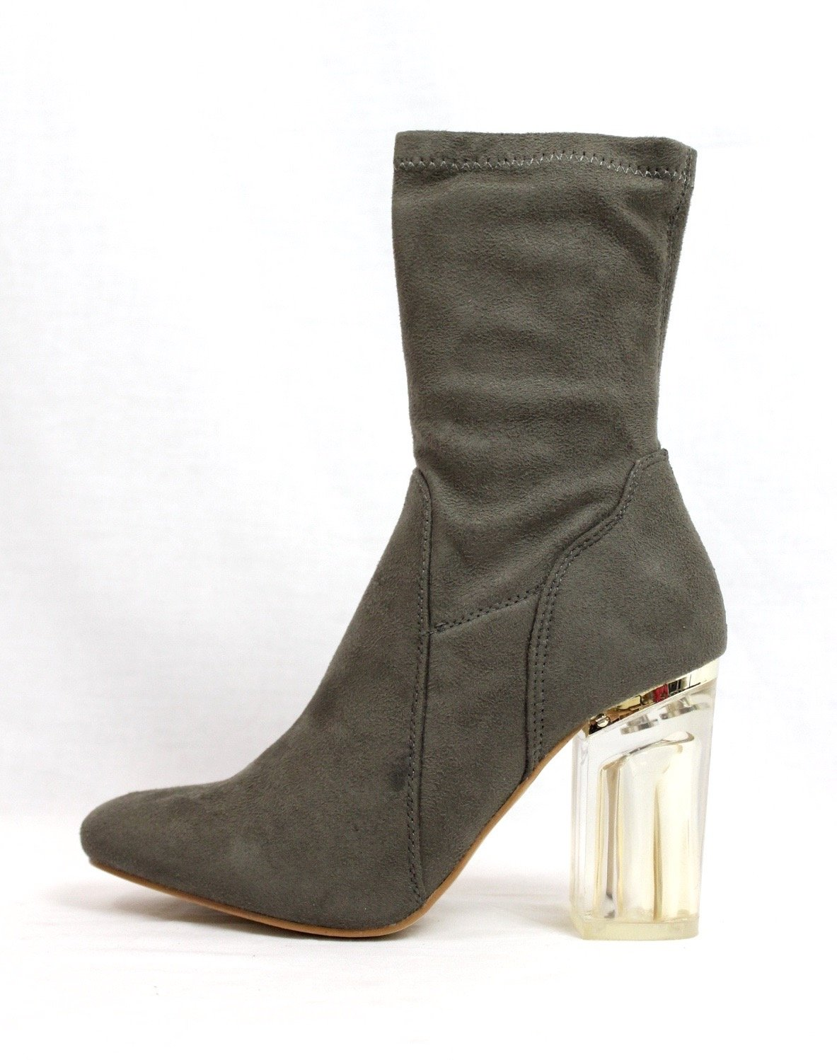Cape Robbin Fay-1 No Frontin Glass Heel Stretch Patent Ankle Boot (8.5, Olive)