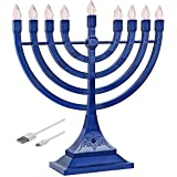 Zion Judaica LED Electric Hanukkah Menorah - Battery or USB Powered (Blue) - Batteries Not Included Cable is Included