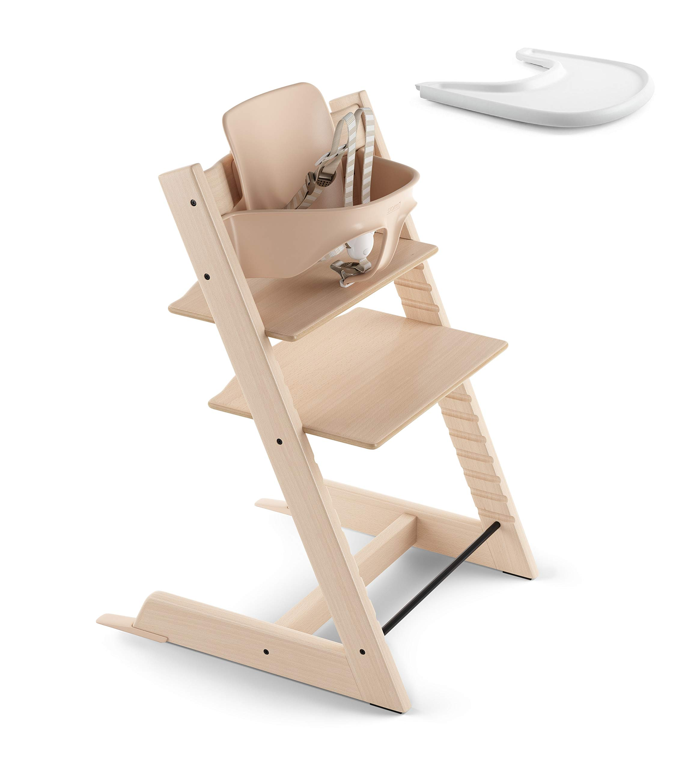 Stokke 2019 Tripp Trapp Natural High Chair & White Tray Bundle by Stokke
