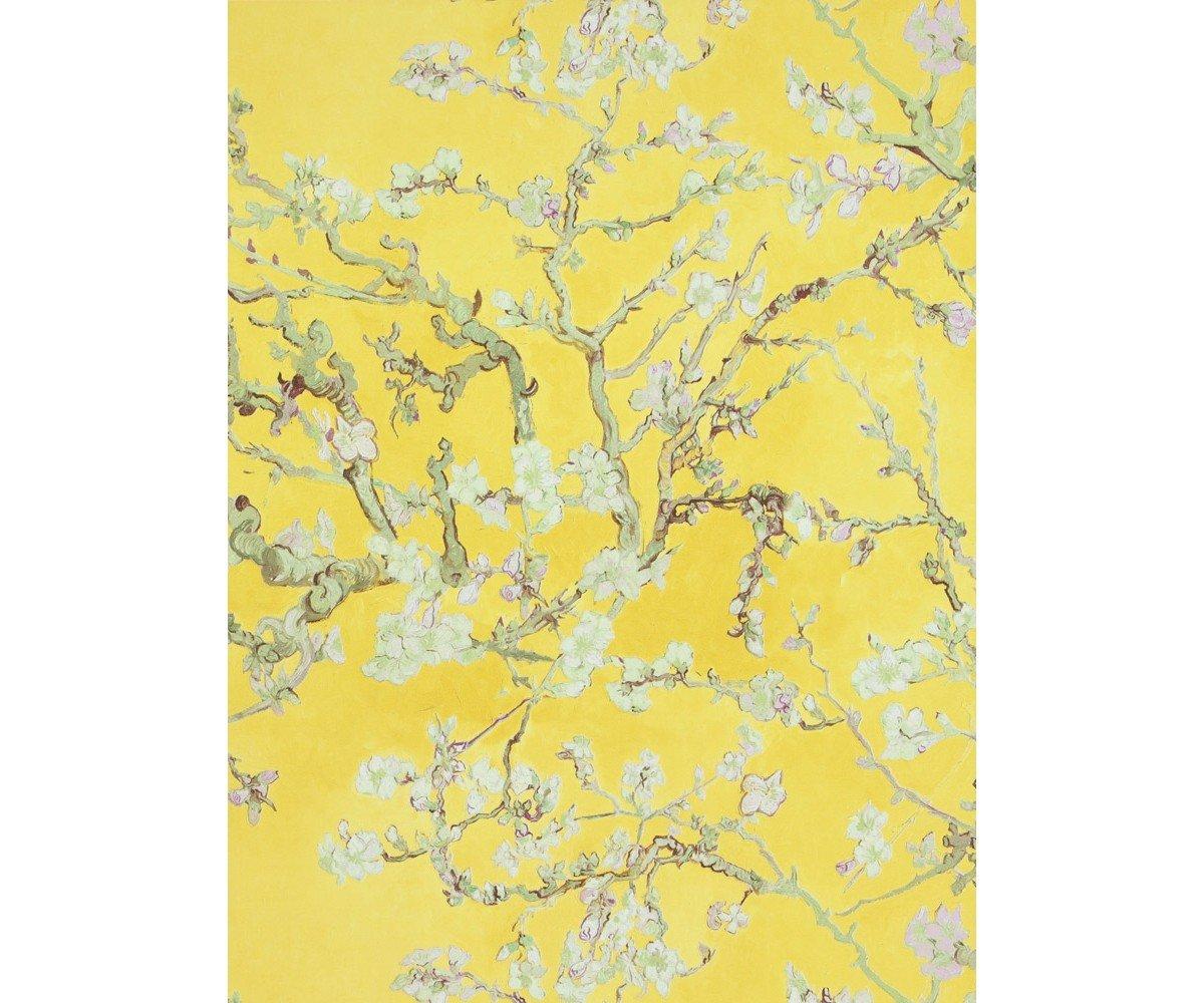 verde tenue e profilo prugna lavabile a rilievo 17143 Parati Van Gogh disegno rami di pesco fiori bianchi