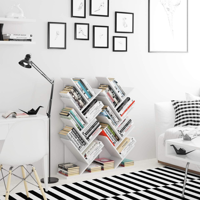 Homfa Estantería para Libros Librería de Árbol Estantería de Pared con 8 Estantes Estantería Almacenaje Libros Blanco