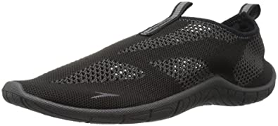 Speedo Men's Surf Knit Athletic Water Shoe, Black/Dark Gull Grey, 7 C