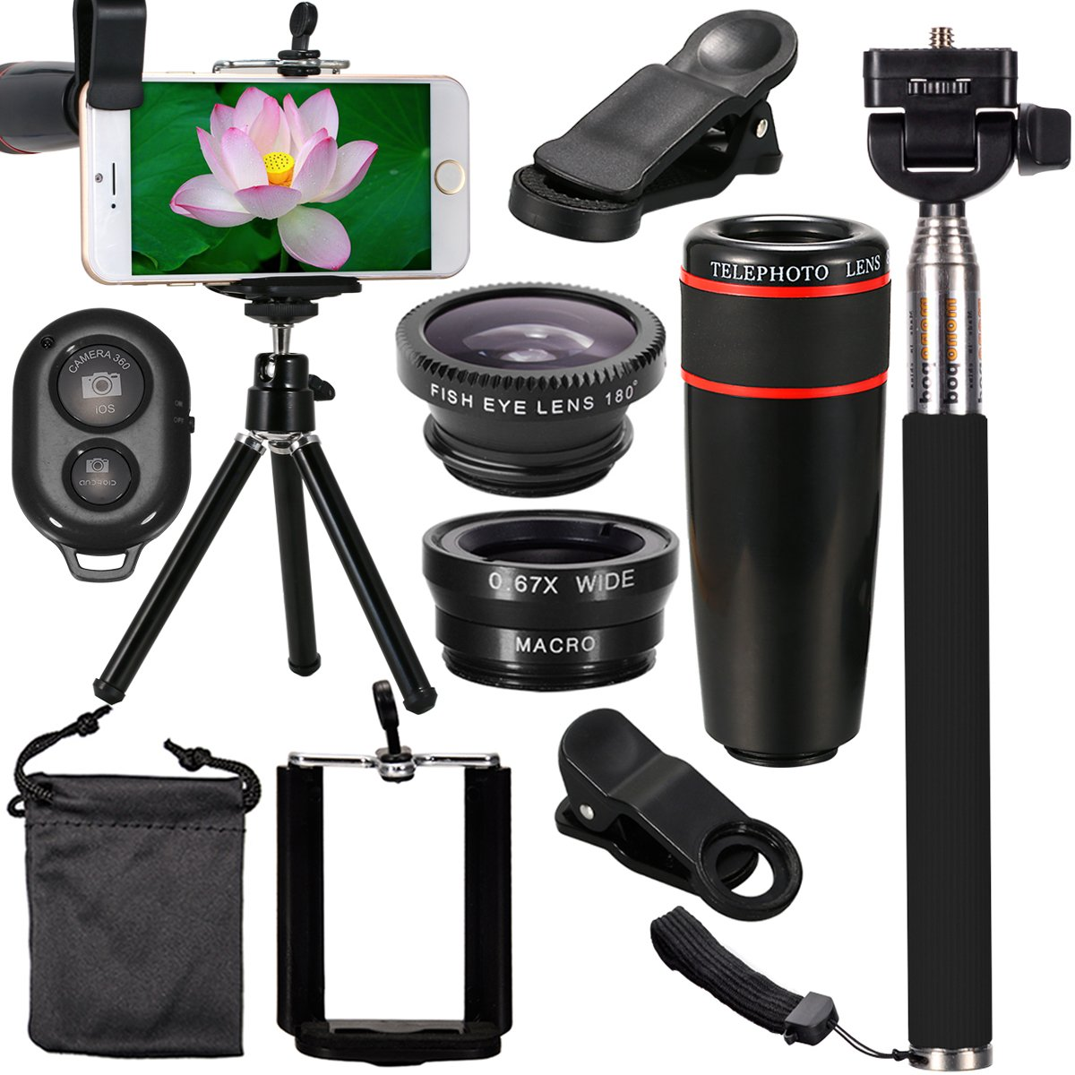 XCSOURCE 10 in 1 Mini Lens Kit 8 x Telephoto Lens + Fish Eye Lens + Wide Angle + Macro Lens Selfie Stick + BT Remote Control + Mini Tripod for iPhone 5 6 7 Galaxy S5 S6 Edge Note 2 3 4 HTC LG