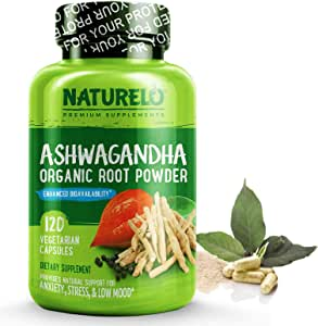 NATURELO Ashwagandha Organic Root Powder - Natural Herbs Supplement - Best for Anxiety & Stress Relief, Mood Enhancer, Thyroid Support, Anti Depression - with Black Pepper Extract - 120 Vegan Capsules