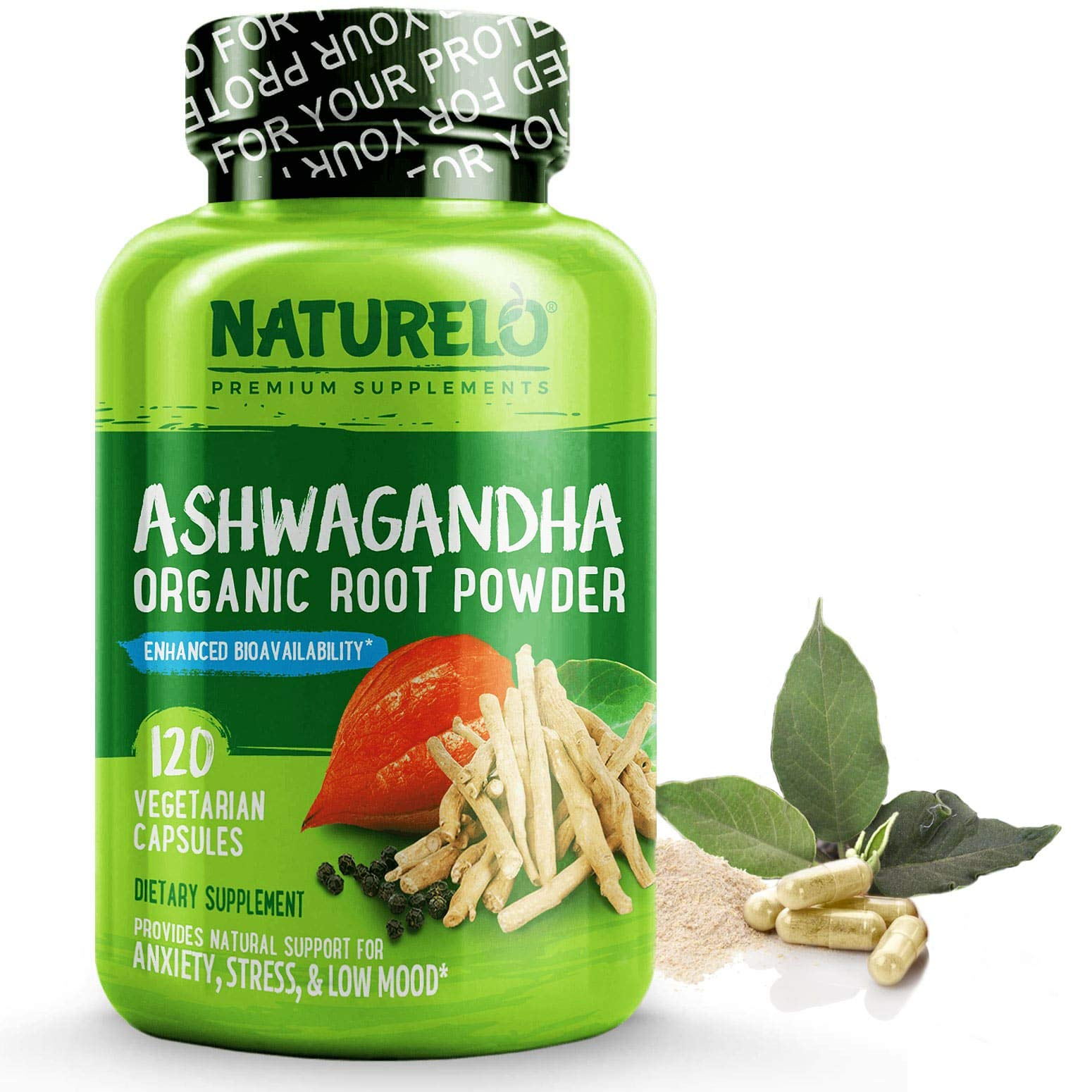 NATURELO Pure Ashwagandha Root Powder Extract - with Black Pepper for High Absorption - 120 Vegan Capsules (US)