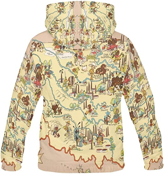 LumosSports Vintage 1935 Mississippi State Map Kids 3D Printed Pullover Hooded Sweatshirt