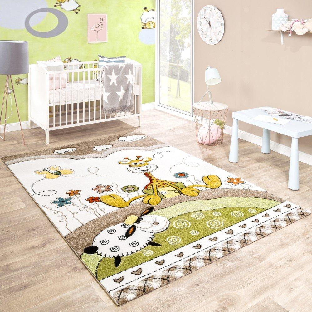 Paco Home Kinderteppich Kinderzimmer Konturenschnitt Baby Giraffe Beige Creme Pastellfarben, Grösse:140x200 cm