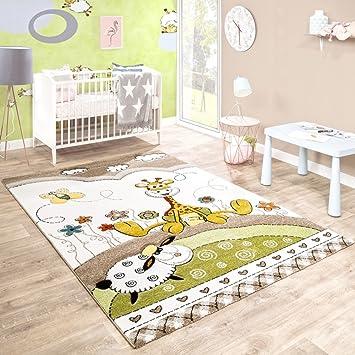 Paco Home Kinderteppich Kinderzimmer Konturenschnitt Baby Giraffe
