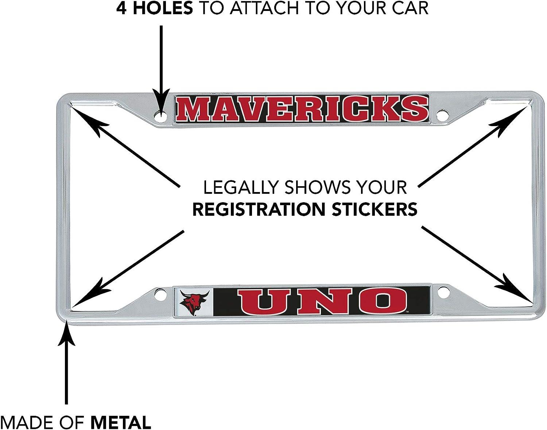 Desert Cactus University of Nebraska at Omaha UNO Mavericks NCAA Metal License Plate Frame for Front Back of Car Officially Licensed Mascot