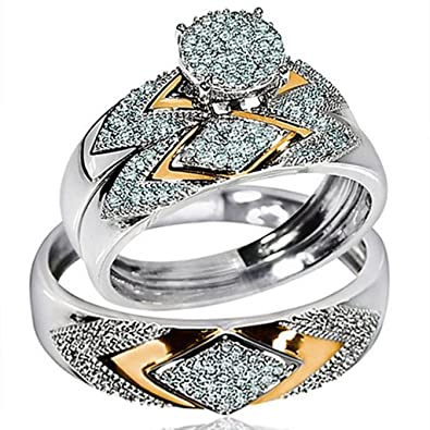 4232a95cd30 Amazon.com: Midwest Jewellery His Her Wedding Rings Set Trio Men ...