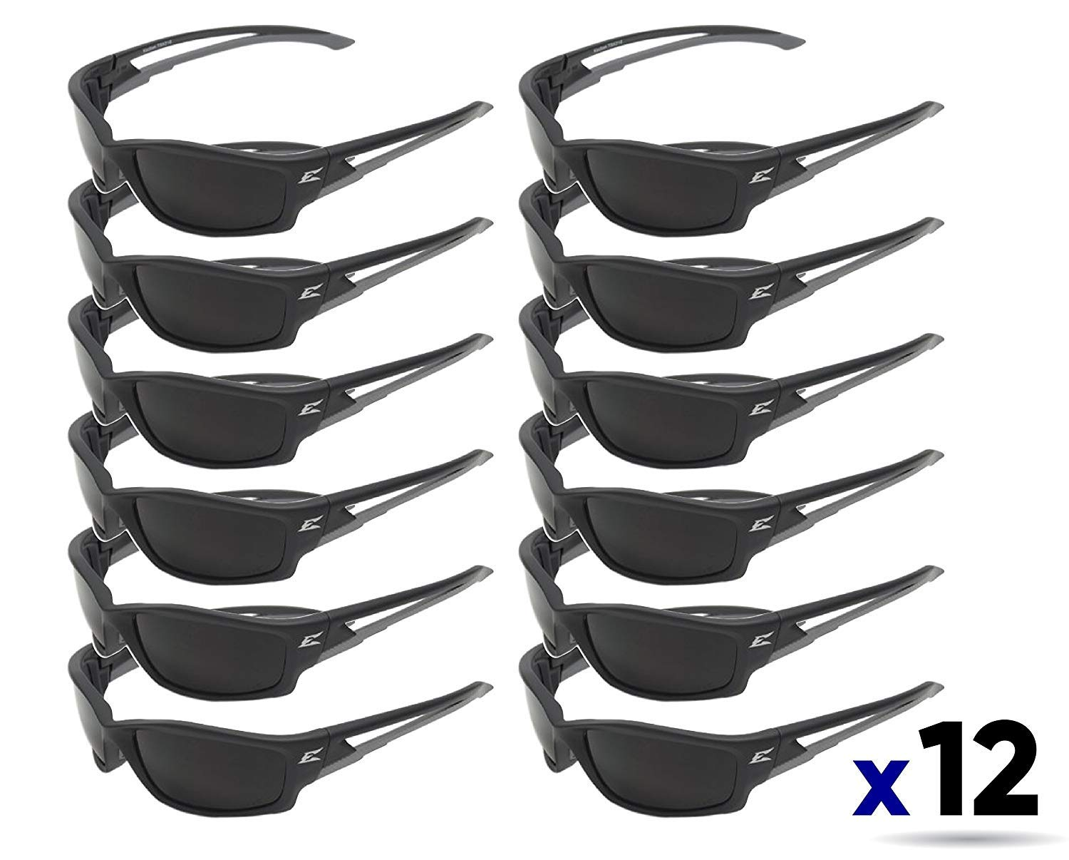 Edge Eyewear TSK216 Kazbek Polarized Safety Glasses, Black with Smoke Lens (12 Pack)