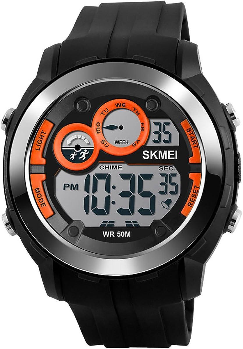 Reloj digital para hombre, 50 m, resistente al agua, electrónico, informal, resistente a los golpes, para exteriores