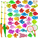 YEITIADY Magnetic Fishing Game Pool Toys for Kids 2 Fishing Poles 2 Fishing Nets and 40 Floating Magnet Ocean Sea Animals Bat