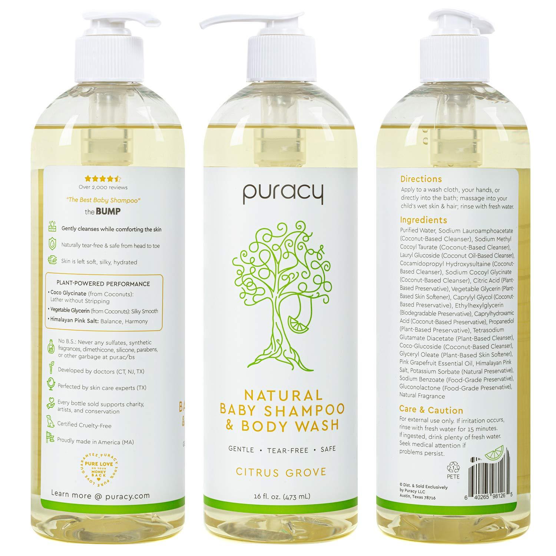Puracy Baby Shampoo & Natural Body Wash, Tear-Free Hypoallergenic Bath Soap