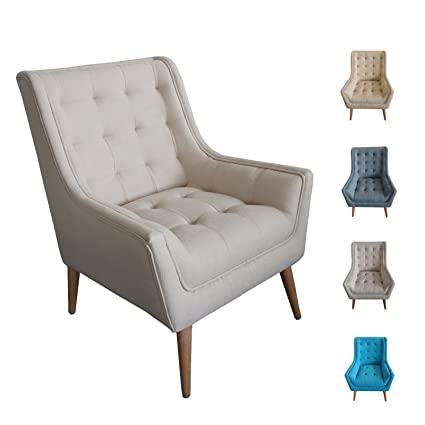 Ordinaire Off White Mid Century Mordern Tufted Accent Wingback Chair | Comfy Lving  Room Dining Room Chair