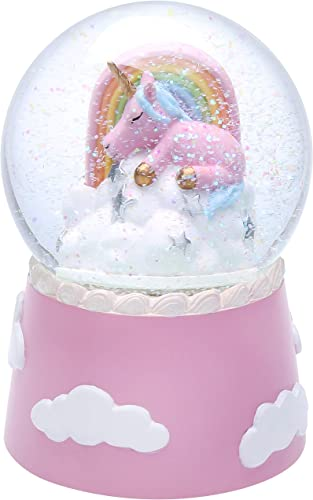 J JHOUSELIFESTYLE Musical Unicorn Snow Globes for Girls, Sleeping Unicorn and Rainbow Rotating Inside as Music Plays, Perfect Unicorn Music Box for Girls, Granddaughters Babies Birthday – Pink