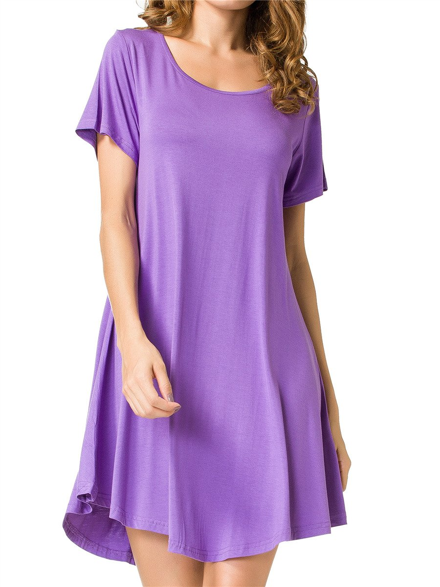 JollieLovin Women's Tunic Top Casual Short Sleeve Swing Loose T-Shirt Dress (Purple, L)