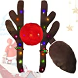 Mooker Reindeer Christmas Antlers Car Kit-with LED Lights Including Christmas Car Jingle Bell Antlers, Nose, and Tail…