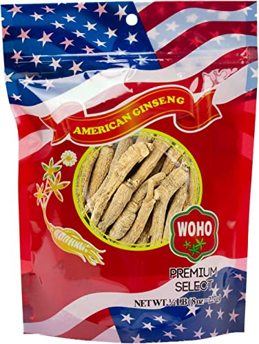 WOHO American Ginseng 102.8 Long Medium Roots 8 Oz Bag