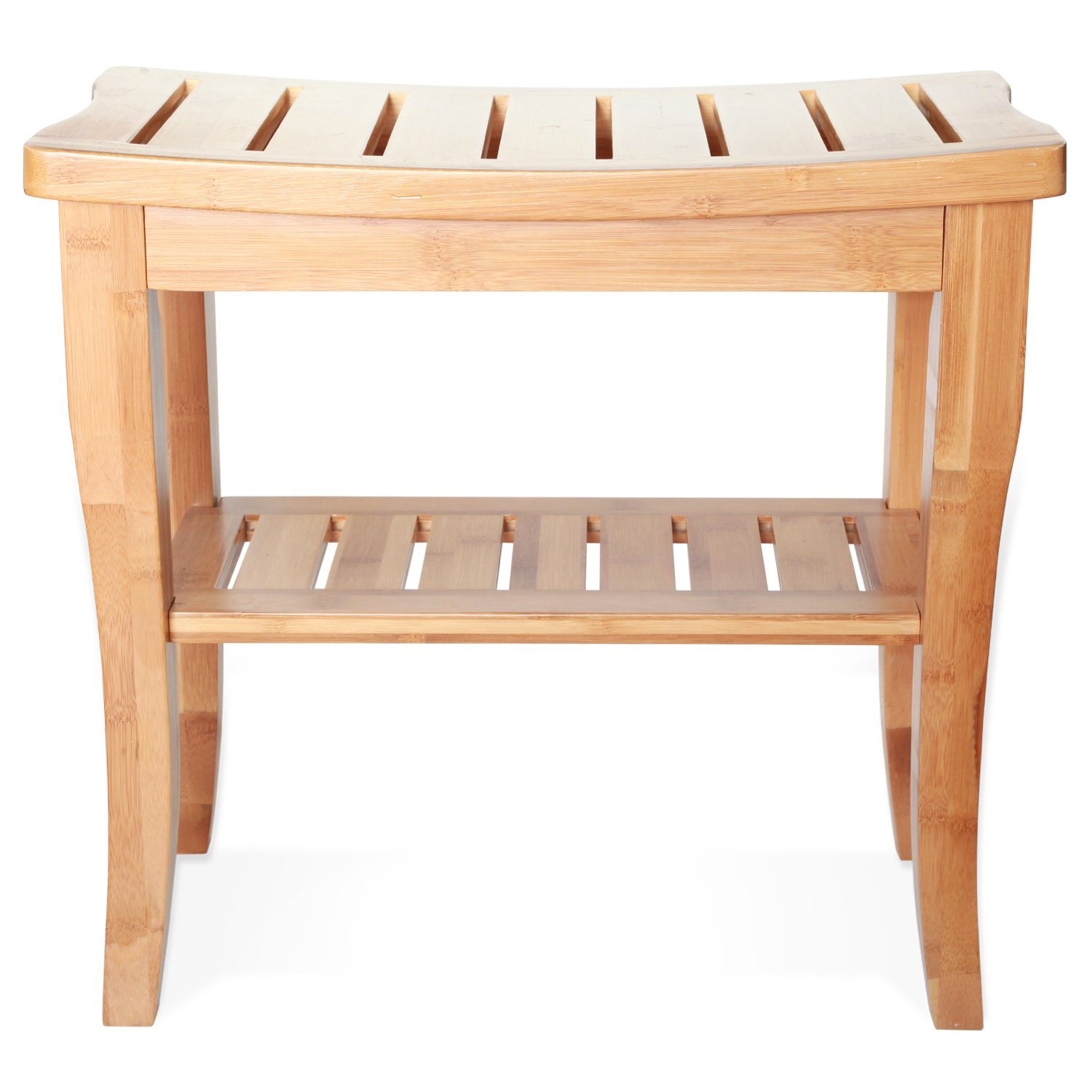 Amazon.com: Deluxe Bamboo Shower Seat Bench with Storage Shelf ...