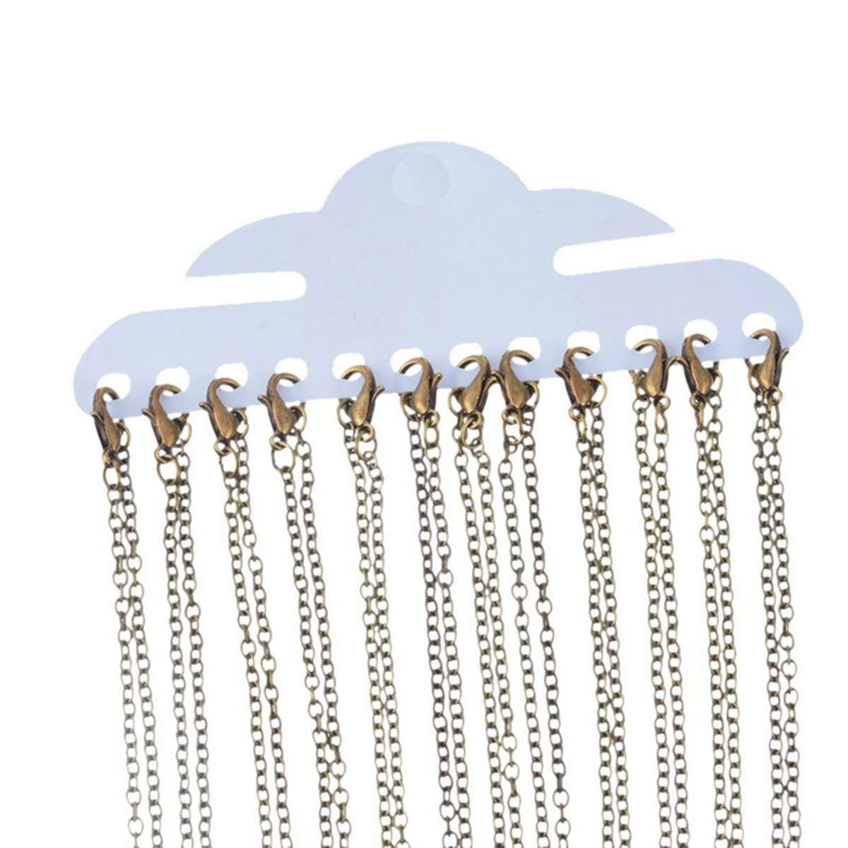 HOUSWEETY 12 Silver Plated Link Chain Necklaces 2x3mm 16