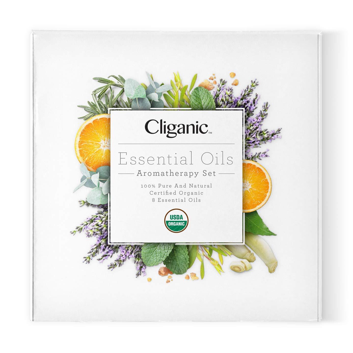 Cliganic USDA Organic Aromatherapy Essential Oils Set (8 Pack), 100% Pure Natural - Peppermint, Lavender, Eucalyptus, Tea Tree, Lemongrass, Rosemary, Frankincense & Orange | Cliganic 90 Days Warranty by Cliganic (Image #3)