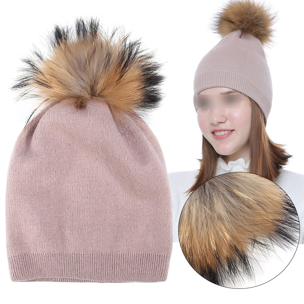 Knitted Hat, Winter Raccoon Fur Pompom Hat Warm Thick Knit Skull Pure Color Fashion Cashmere Blend Slouchy Beanies for Women(Pink) ZJchao
