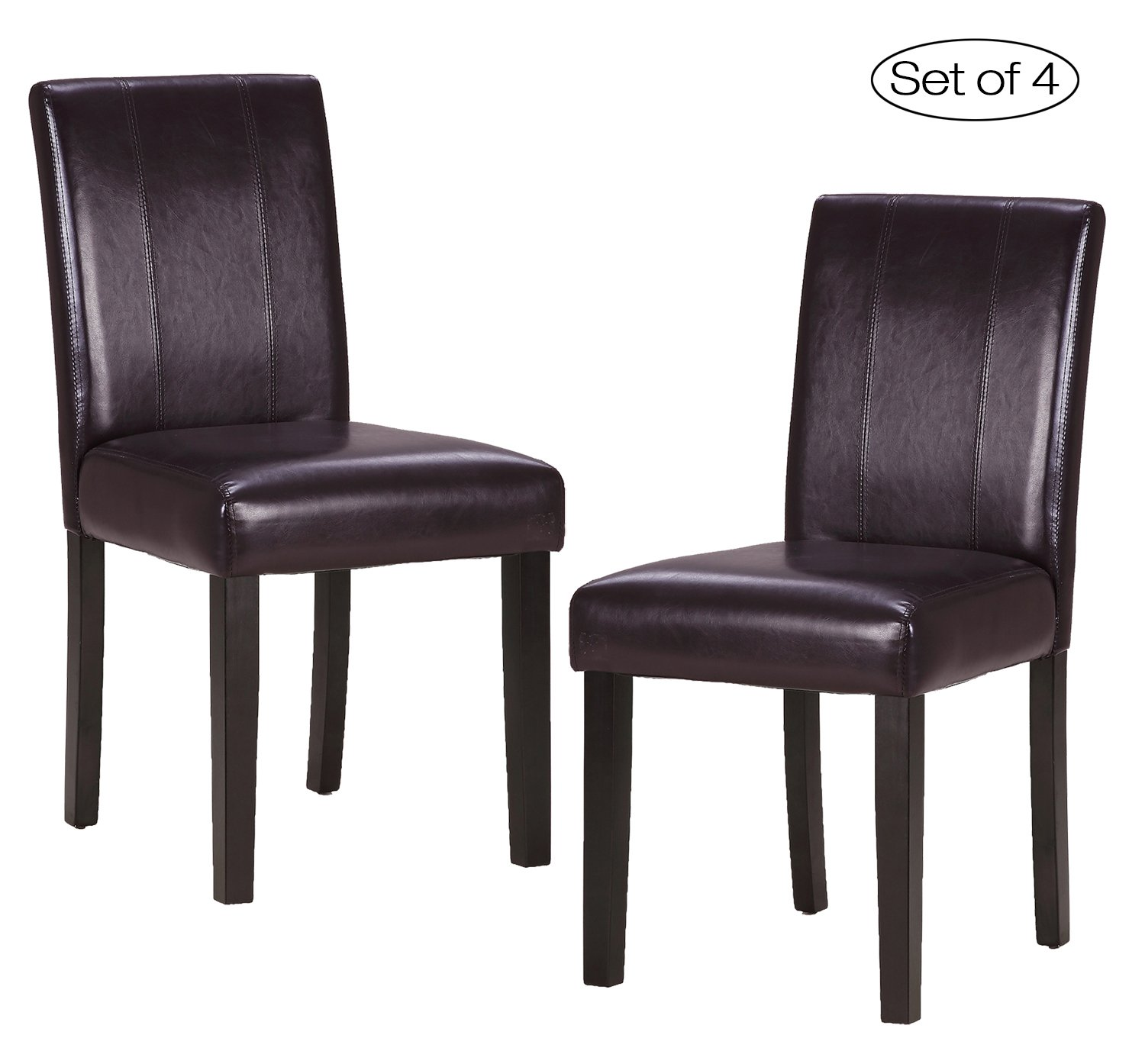 Set of 4 Dining Room Chair with Solid Wood Legs ZXBSWELE Urban Style Dining Chair for Kitchen Living Room Dining Room, Leatherette, Chocolate Brown