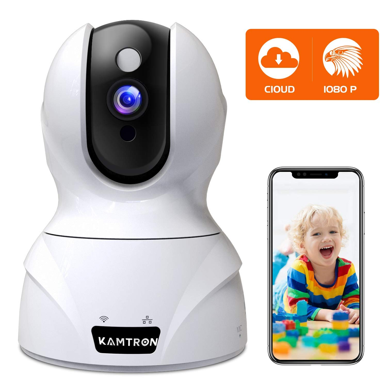 Security Camera 1080P Pet Camera - KAMTRON WiFi Home Security System for Office/Baby Monitor, 2.4Ghz PTZ Indoor IP Wireless Dome Camera with Night Vision, Two-Way Audio, Cloud Service Available, White by KAMTRON