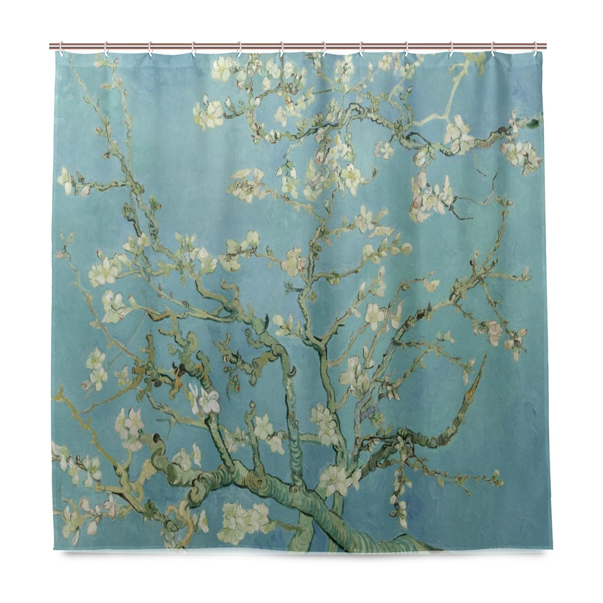 ISAOA Van Gogh Painting Shower Curtain Waterproof Mildew Resistant Anti-Bacterial Personalized Design Polyester Fabric Curtain for Bathroom, 180x180cm with 12 hooks