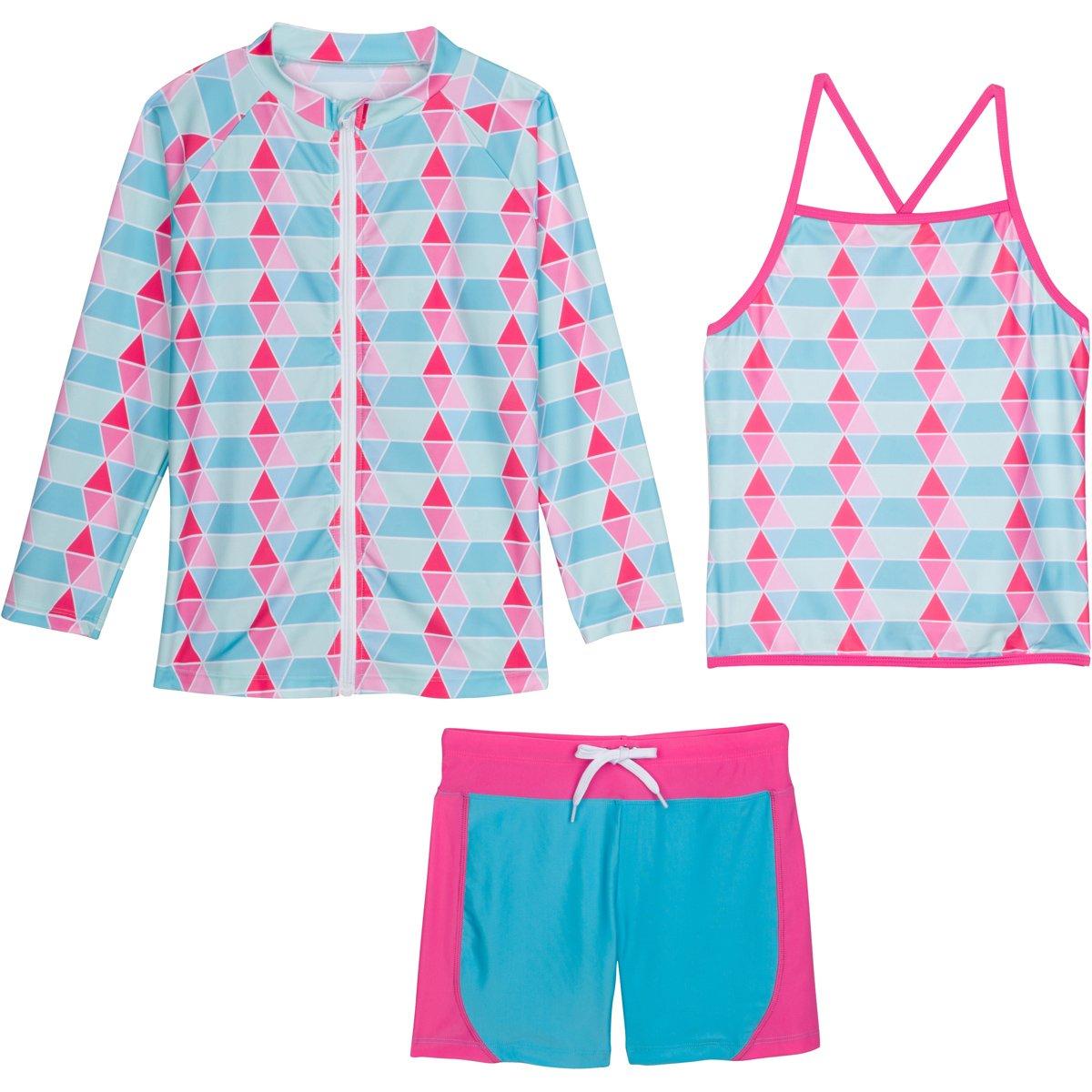 SwimZip Girls Long Sleeve Rash Guard Swim Shorts Set with UPF 50+ Blue 18-24 Month SZILSSHORTSET3PC13