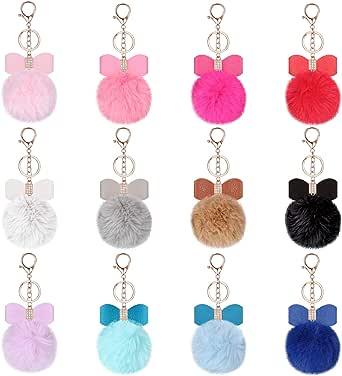 12 Pieces Bow Rhinestone Pom Pom Keychain Fluffy Faux Fur Pompoms Keyring for Girls Women Bags Keychain Craft