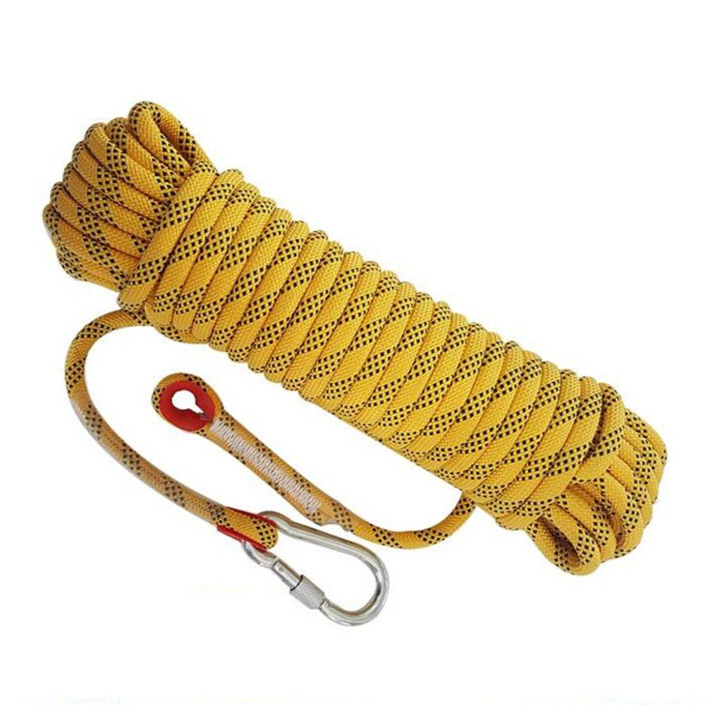 Yellow 10m10mm Rock Climbing Rope Spider-Man Safety Fire Predection Nylon Rope Escape Static Power Cord,Black-50m10mm
