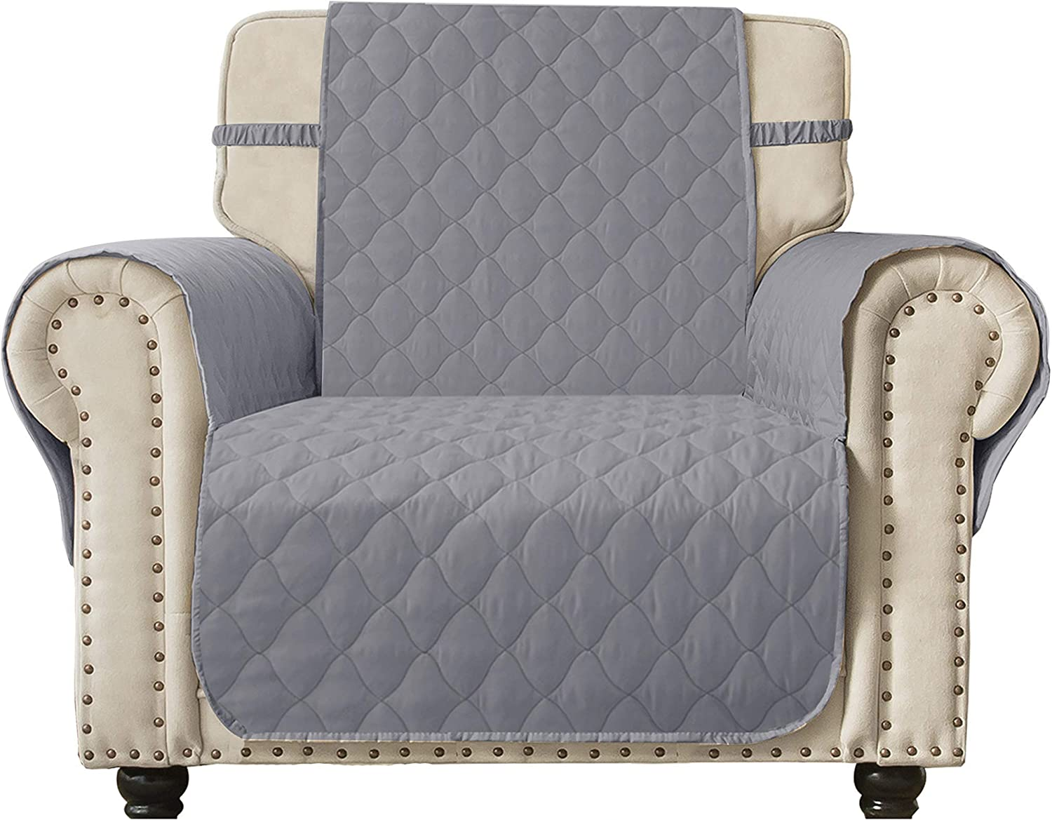 """Ameritex Recliner Chair Cover Waterproof Stay in Place, Furniture Protector, Recliner Slipcovers for Dogs (30"""", Light Grey)"""