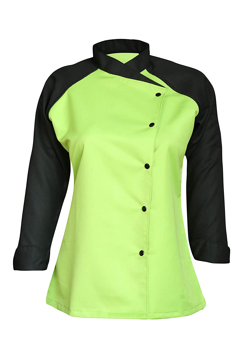 3/4 Contrast Sleeves Women's Ladies Chef's Coat Jackets By Chef Apparels (Grey, XS (To Fit Bust 32-33))