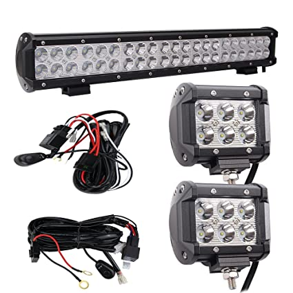 amazon com bangbangche 20 126w flood spot combo cree led light rh amazon com Wiring LED Lights cree led light bar wiring harness