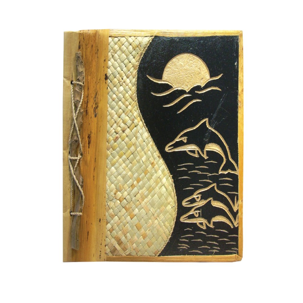 Rockin Gear Handmade Photo Album Scrapbook - Banana Leaf Wood Hand Carved Eco Friendly Photo Album 9'' x 11'' (Dolphins)