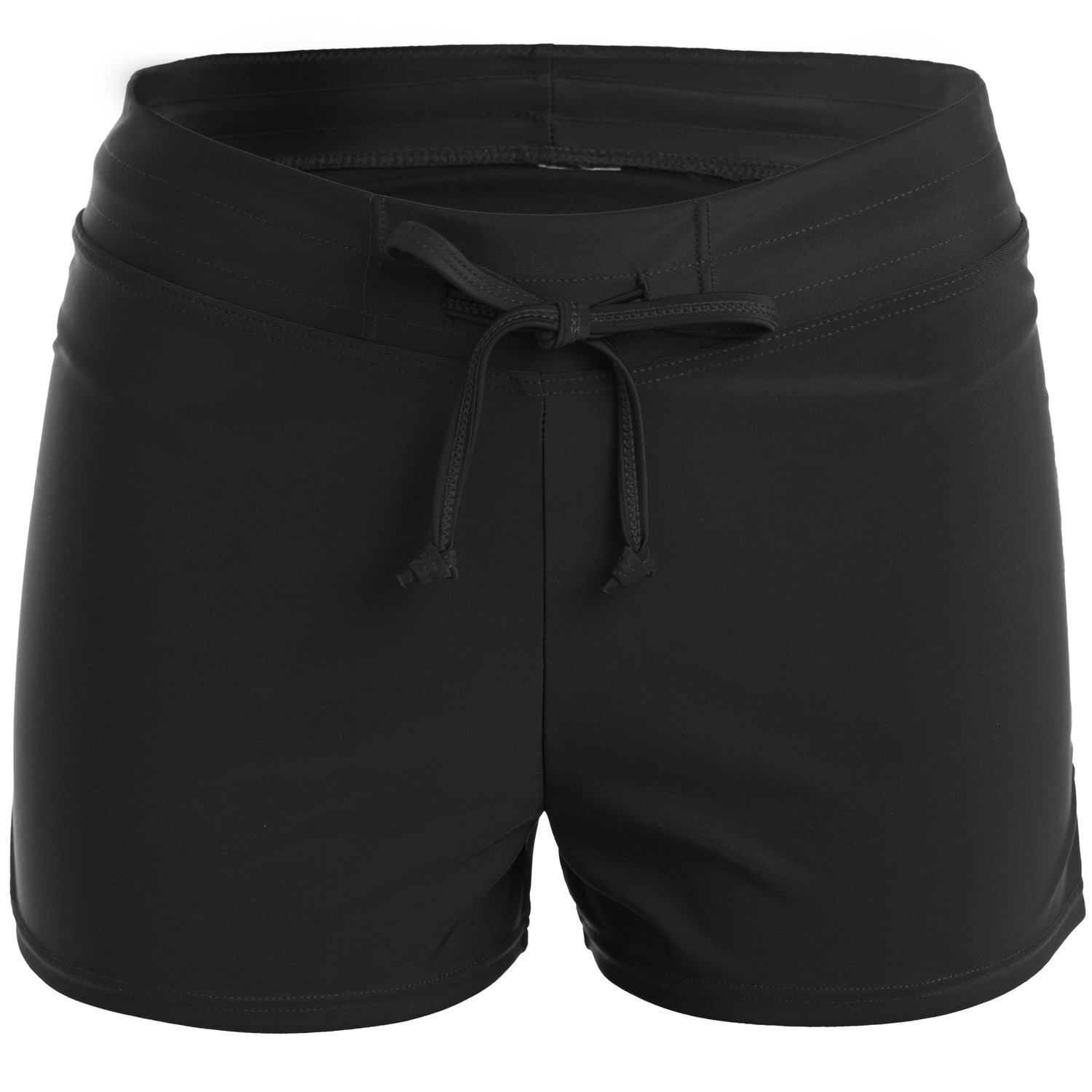 Vegatos Womens Solid Boardshorts Swimming Shorts Swim Bottoms Surfing Boyshorts Black