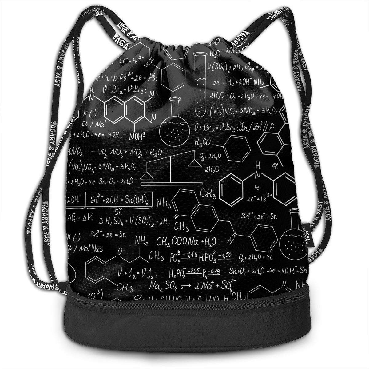 HUOPR5Q Chemistry Blackboard Drawstring Backpack Sport Gym Sack Shoulder Bulk Bag Dance Bag for School Travel