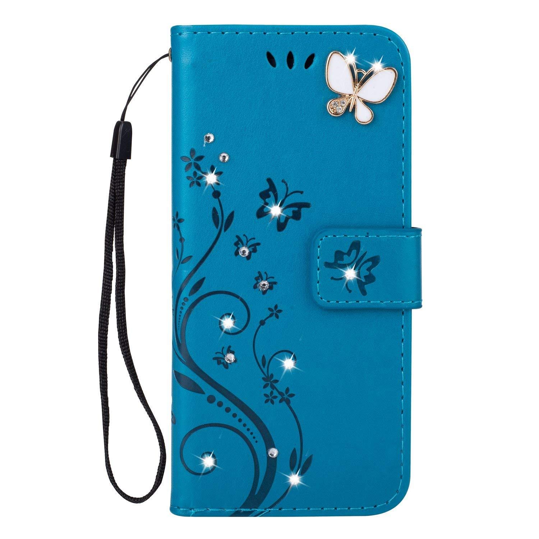 Felfy Compatible avec Coque Huawei Honor 7A Portefeuille PU Cuir Housse Bumper Cristal Diamant Strass Papillon Motif Flip Case Magn/étique Antichoc Pochette Coque Etui avec Fente pour Carte,Bleu