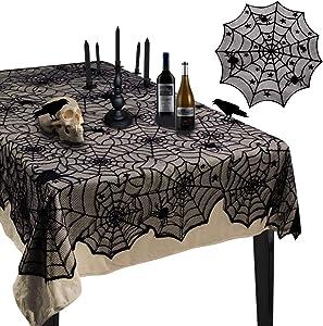 "Korlon 2 Pieces Halloween Tablecloth, Halloween Spider Web Tablecloth Table Cover, 54""x 72"" Rectangular & 42"" Round Black Spider Web Lace Tablecloth for Halloween Party Decorations Table Decor"