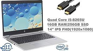 "2020 HP EliteBook 840 G6 14"" FHD (1920x1080) IPS Business Laptop (Intel Quad Core i5-8265U, 16GB RAM, 256GB SSD) Backlit, Fingerprint, Wi-Fi 6, Thunderbolt 3, Windows 10 Pro + IST Computers HDMI Cable"