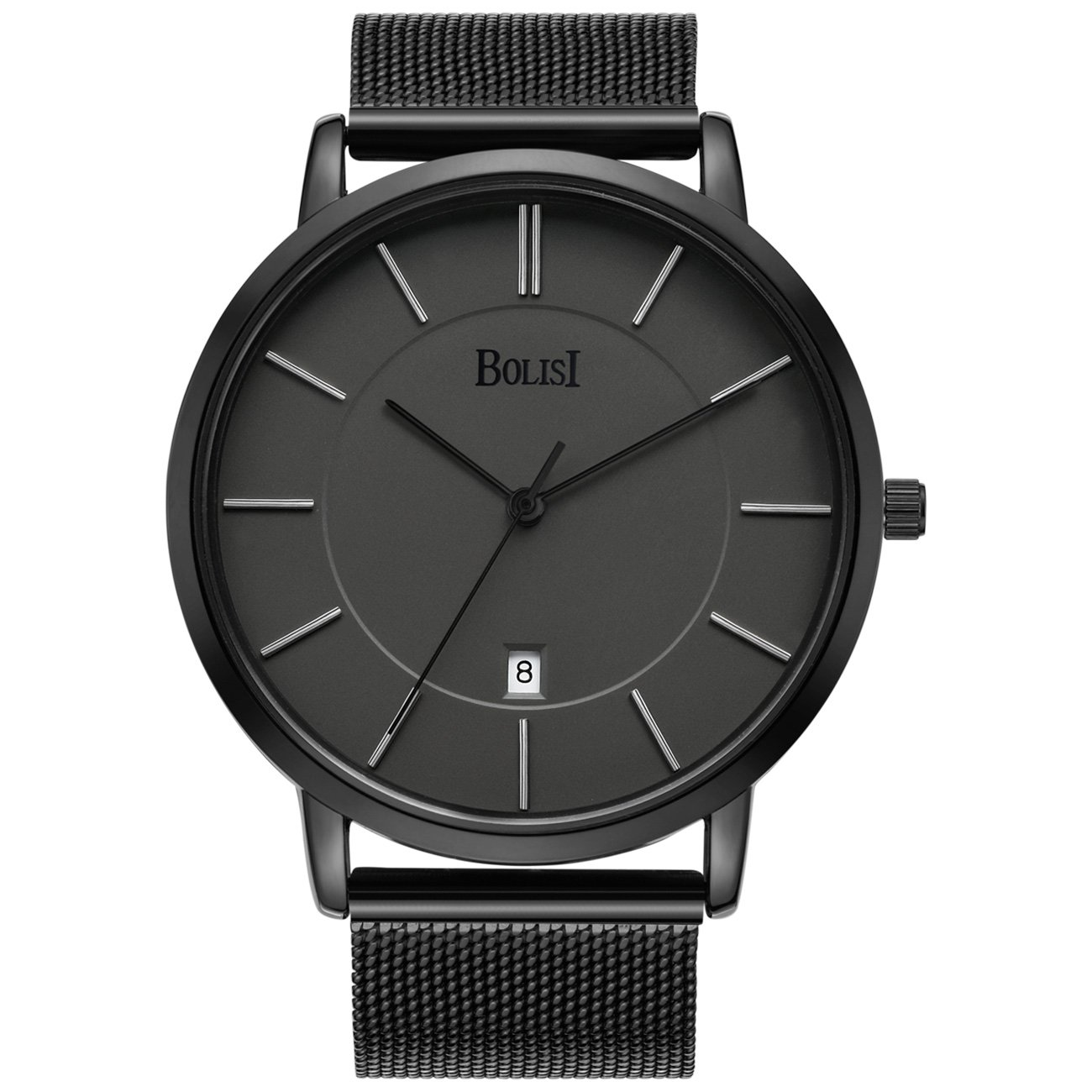 BOLISI Mens Womens Watches Ultra-Thin Classic Analog Quartz Fashion DressWrist Watch with Date and Milanese Mesh Band or Leather Strap for Gift (Black Band)