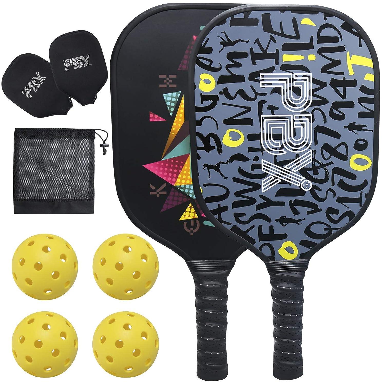 PBX ピックルボールパドルセット プレミアムピックルボール2個セット ピックルボールボール4個と保護キャリーケース付き 屋内外ピックルボールラケット B07DY27BF2