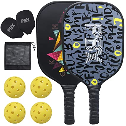 PBX Pickleball Paddle Set of 2 Premium Graphite Pickle Ball Set Includes 4 Pickleball Balls and Protection Carrying Case - Indoor and Outdoor ...