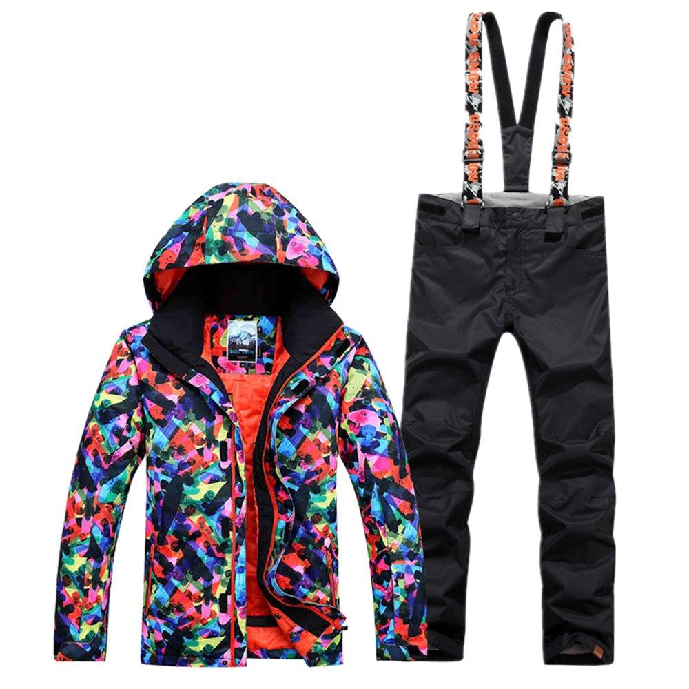 Black XSmall GsouSnow Women's Girl Waterproof Windprooof Hooded Ski Suit Jackets Coat Bib Pants Trousers Removable Warm Snow Rain Outdoor Insulated Winter Snowboarding